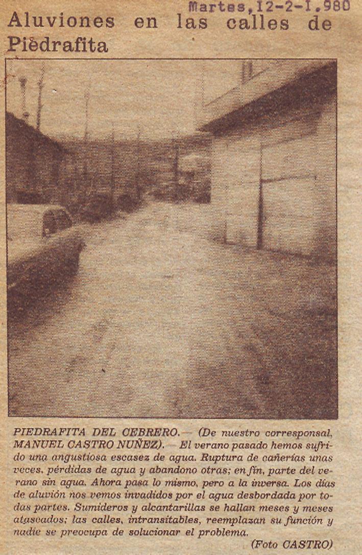 Aluviones en las calles de Piedrafita (12 de febrero de 1980)