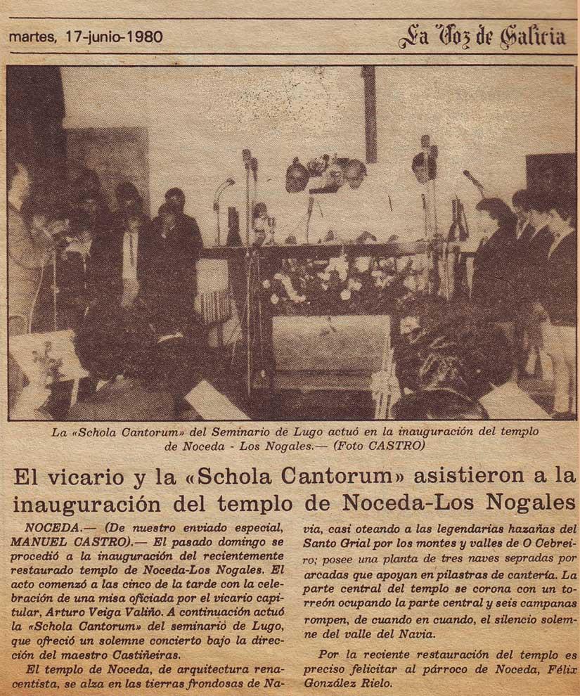Inauguración del templo de Noceda (As Nogais)
