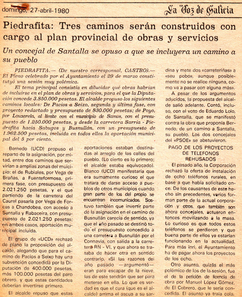 Se construirán tres caminos en Pedrafita (27 de abril de 1980)